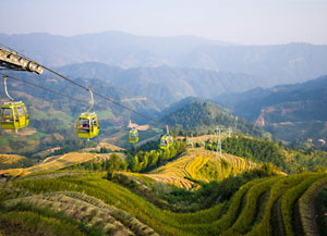Cable cars in Jinkeng Village